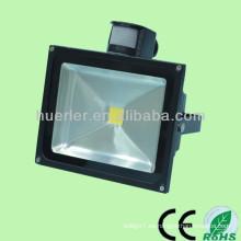 100-240v 12-24v 10-80w ip65 50w luz de inundación llevada solar con el sensor de movimiento del pir