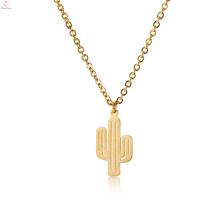 Breloque pendentif en or en acier inoxydable Dainty Cactus Charm Necklace
