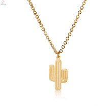 Stainless Steel Gold Pendant Brush Dainty Cactus Charm Necklace