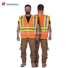 Venta caliente Hola Vis 100% chaqueta de trabajo de malla de poliéster chaleco de seguridad de alta visibilidad resistente con cintas reflectantes bolsillos múltiples