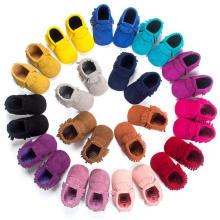 Мода Нубука & Кисточки Младенческой Малыша Мокасины Мягкой Подошвой Детская Обувь