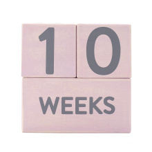 Premium Solid Wood 2.5x2.5 Pink Baby Age Photo Blocks Milestone Age Blocks for Perfect Baby Shower Gift and Keepsake
