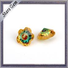 Формы цветка CZ золота и синего стекла смешанный Цвет драгоценных камней