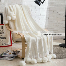 Hot selling cashmere blanket with pom pom knitted white winter soft blanket