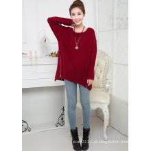 Senhora moda acrílico tricotado com zíper suéter (yky2002)