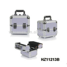 mini and strong light purple aluminum cosmetic case with 4 trays inside from China manufacturer