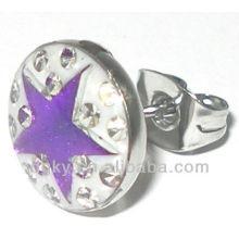 Surgical aço estrela cristal stud brincos para os homens