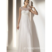 Empire Sheath Column Bateau Neck Neck-Floor Chiffon Lace Drapped Wedding Dress1