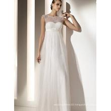Empire Sheath Column Bateau Neck Floor-length Chiffon Lace Draped Wedding Dress1