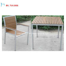 H-China Outdoor Furniture Plastic Wood Dining Table Set