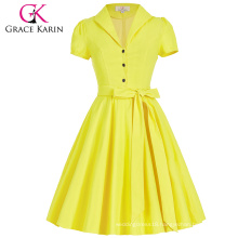 Grace Karin Lapel Collar Nylon-Cotton Short Sleeve Womens Summer Dress 1950s Vintage Retro Dresses CL008946-3