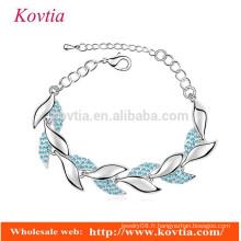 Femmes accessoires pour bijoux bracelets bracelets de chaîne en cristal bleu bracelet en or blanc en forme de bracelet