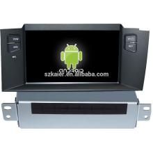 Usine Android lecteur multimédia de voiture système pour Citroen C4L avec GPS, Bluetooth, 3G, ipod, jeux, double zone, contrôle du volant