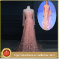 RASA-12 Increíble Pink Formal Evening Party Gown Zipper Back Soft A-Line Lace Appliqued Evening Dress Beading Long Sleeve Real