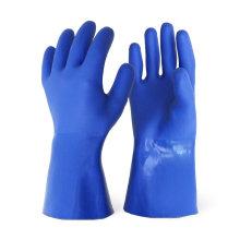 Waterproof Anti Slip Cotton Interlock Liner Long Cuff PVC Sandy Plastic Coated Gloves