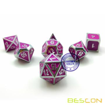 Bescon Deluxe Creative Shiny Silver and Purple Enamel Solid Metal Polyhedral Role Playing RPG Game Dice Set of 7