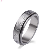 Aço inoxidável prata personalizado Mantra anel gravado
