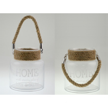 2015 High Quality Glass Lantern with Jute Rope Handle