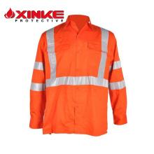 Camisa de trabajo de seguridad ignífuga de algodón de manga larga naranja transpirable personalizada