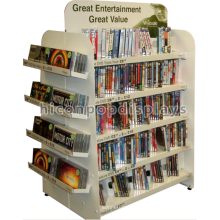 Custom Freestanding 4-Wege-Buch Einzelhandel Stand kommerziellen weißen Metall Comic Book Store Display Regale