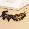 Black Lace Simple Anklet Beads Tassel Cheap Ankle Bracelets
