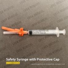 Seringa descartável de segurança médica com tampa protetora