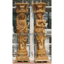 Decorative Roman Column Pillar with Stone Marble Sandstone Granite (QCM127AB)
