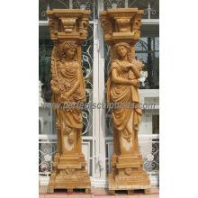 Coluna de coluna romana decorativa com granito de arenito de mármore de pedra (QCM127AB)