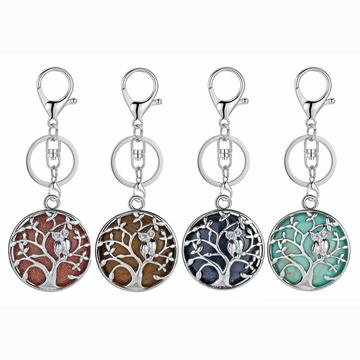Owl Tree Crystal Gemstone pendant keychain