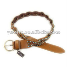 Rhinestones Braided Leather Belt For Woman Wide Leather Belt