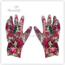 Jardin de travail plongé de polyester de la femme 13G Palm Nitrile de polyester, gants de sécurité