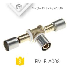 EM-F-A008 Conector de compresión cromada Conexión de tubería en forma de T igual a latón