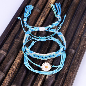 Waterproof String Sunflower Charm Bracelet Handmade Woven Friendship Bracelets for women