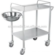 stainless steel surgical Instrument trolley with handle and bowl