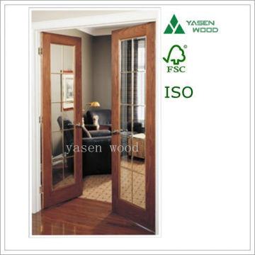 Wood Veneer Interal Glazed French Wooden Door