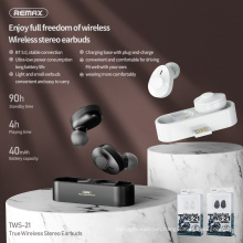 Remax Join Us 2021 latest Mini low power consumption TWS Music talking headset earphone bluetooth earbuds with plug headphone