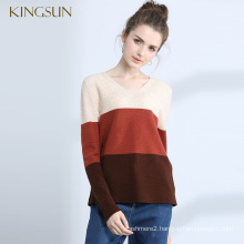 Woman Multicolor Wool Cashmere Sweater Women's Sweater V Neck Pullover