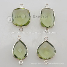 925 Стерлингового Серебра Зеленый Аметист Драгоценный Камень Установка Шатона Разъемы