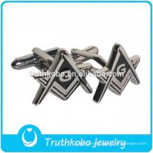 L-C0022 Epoxy Black Stainless Steel Material Masonic Logo Cufflinks for Men