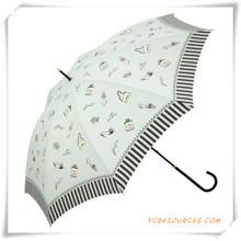 Paraguas recto promocional impreso barato automático de Pongee para la promoción