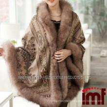 Cashmere and Fox Fur Trim Cape Korean Fashion online Shop Poncho