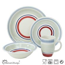 20PCS Ceramic Dinner Set Hand Painted Color Circles Design