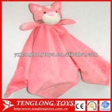 Adorável rosa urso cabeça de brinquedo macio dois lados bebê manta