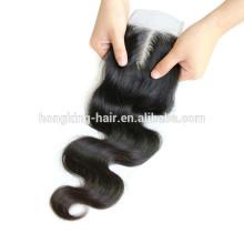 China Supplier Unprocessed Virgin Human Hair Body Wave Silk Top Hair Closure