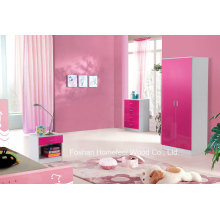 3 Piece Pink High Gloss Kids Bedroom Wardrobe Sets (HH02PW)