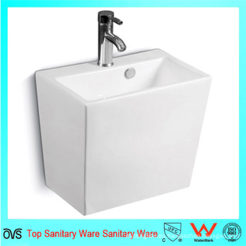 Lavabo rectangular de pared de una sola pieza