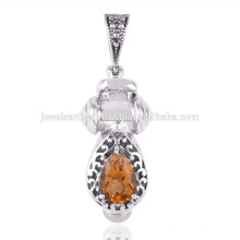 Цитрин и жемчуг драгоценных камней 925 твердое серебро Кулон