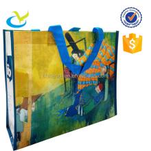 Durable eco-friendly laminated pp woven plaid shopping bag