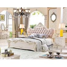 Lujo francés barroco dosel dormitorio talla madera sistema europeo tipo cama (6019)