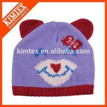 Оптовые дешевые милые пользовательские кошка уха трикотажные шапочка шляпу